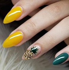 Glam yellow and green nails with pinapple 23 Great Yellow Nail Art Designs 2019 1 Get Nails, Fancy Nails, Love Nails, Cute Acrylic Nails, Acrylic Nail Designs, Nail Art Designs, Blog Designs, Perfect Nails, Gorgeous Nails