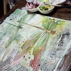 Shadowscapes - Stephanie Pui-Mun Law — A glinting bit of contrast. Illustration Photo, Illustrations, Watercolor Techniques, Art Techniques, Silk Painting, Painting & Drawing, Dragonfly Art, Insect Art, Art Graphique