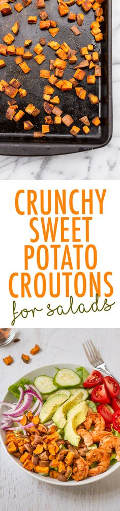 Crunchy Sweet Potato Croutons. A healthy topping for salads. #vegan #glutenfree #paleo