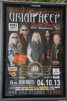 Plakat von Uriah Heep aufgenommen im Stadtzentrum von Sankt Petersburg bei einer Stadtführung.