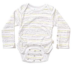 Posheez Snap'n Grow Organic Cotton Adjustable Baby Bodysuit - Abstract Stripes Print - Long Sleeve. Any Size, Any Shape ... Perfect Fit! Posheez Fit!
