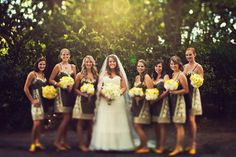 yellow black grey bridesmade dress | grey and yellow wedding with grey wedding party
