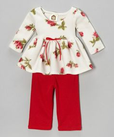 Take a look at this Red & White Rosy Baby Fleece Tunic & Pants - Infant & Toddler by Barn Organics on #zulily today!  $16.99