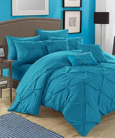 Another great find on #zulily! 10-Piece Turquoise Pleated Comforter Set #zulilyfinds