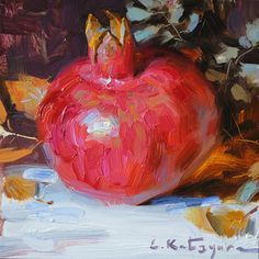 "Daily Paintworks - ""October Pomegranate"" - Original Fine Art for Sale - © Elena Katsyura Oil Painting Gallery, Oil Painting For Sale, Pomegranate Art, Fruits Drawing, Fruit Painting, Still Life Art, Fruit Art, Painting Lessons, Fine Art Gallery"