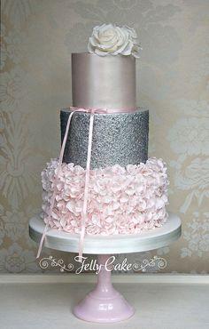 A pretty blush and silver cake set up at Ellenborough Park near Cheltenham. Sparkly Wedding Cakes, Sparkly Cake, Diy Wedding Cake, Beautiful Wedding Cakes, Gorgeous Cakes, Pretty Cakes, Glitter Birthday Cake, 40th Birthday Cakes, Glitter Cake