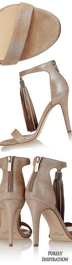 Jimmy Choo Viola crystal-embellished tasseled suede sandals | Purely Inspiration #jimmychooheelssuede