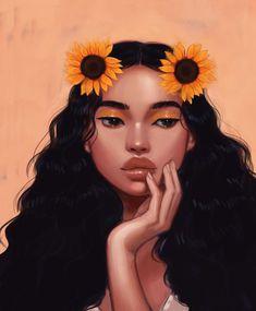 Art And Illustration, Arte Inspo, Black Art Pictures, Black Girl Art, Black Girl Cartoon, Black Girls, Black Women, Digital Art Girl, Cartoon Art Styles