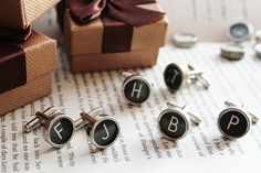 Wear a piece of history ! Set of 4 pairs of CUSTOMIZED cuff links made of AUTHENTIC Typewriter keys  All Letters Available! You can choose ANY 8 letters from  black keys with creamy letters or white/creamy keys with black letters.  Face Of Key Is flat GLASS  Perfect for personalized wedding gifts for men! The Groom and Groomsmen will look stylish and will have a polished and coordinated appearance  The typewriter keys are carefully assembled to our cufflink backs using a strong cold epoxy…