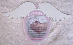 Benutzerdefinierte Set Angel Wing Einladung/Ankündigung  Diese Karten können für Baby-Duschen, Geburtstage, Adoptionen und süße 16 genutzt