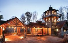 Inspired by the fire towers of the Blue Ridge Mountain range, this exceptional log-and-timber home was everything its owner/designer sought.