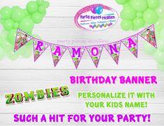 Zombie Birthday Parties, Happy 8th Birthday, Zombie Party, Daughter Birthday, Boy Birthday, Family Birthday Shirts, Family Birthdays, Personalized Banners, Party Kit