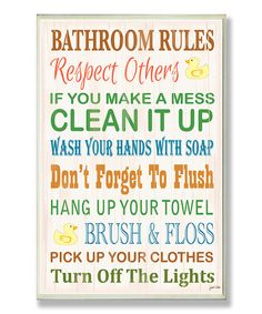 'Bathroom Rules' Rubber Ducky Wall Sign