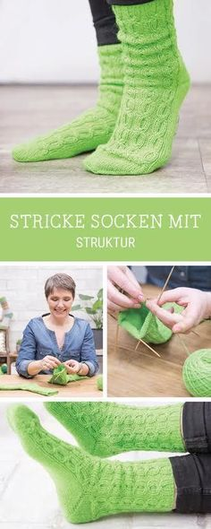 Knitting instructions for cozy socks with cable pattern, structured socks knit with . Knitting instructions for cozy socks with cable pattern, structured socks knitting with Schachenmayr Regia / diy knittin. Knitting Socks, Baby Knitting, Wool Yarn, Knitted Fabric, Baby Boy Booties, Cozy Socks, Patterned Socks, Textiles, Knitting Patterns