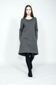 Deep Khaki Dress with pockets Warm Dresses, Khaki Dress, Normcore, High Neck Dress, Deep, Pockets, Sleeves, How To Make, Cotton