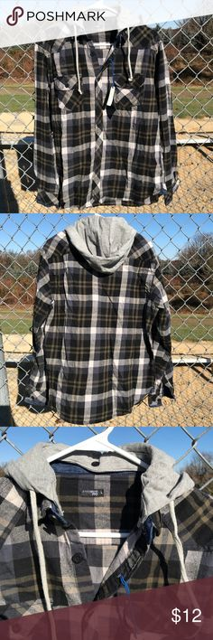 Men's Plaid Hoodie This men's hoodie keeps you warm while making a style statement. Plaid button up with soft jersey hood and denim detailing. Size large by Seventy-Two clothing. 42MENS-WL04 seventy two Shirts Sweatshirts & Hoodies