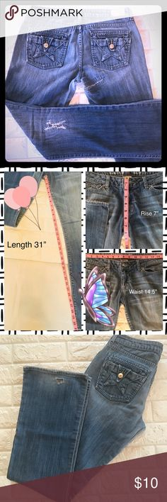 ❣️Pre-Loved Women's People's Liberation 👖Size 29 These sweet Peoples Lib girls have been deeply loved and finally have the opportunity to show off that awesome character! Have small wear holes in both back hems and a few patched holes as shown in pics. Size 29 People's Liberation Jeans Boot Cut