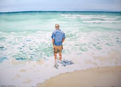 """""""Steve at Pensacola"""" Watercolor of a foot-cooling moment on the Gulf where the white sands make the sky glow."""