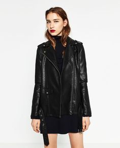 Image 4 of LONG LEATHER-EFFECT JACKET from Zara