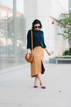 Open Back Sweater and Suede Midi Skirt