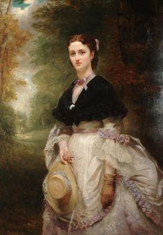 English School, 19th Century,Portrait of a Lady in a woodland setting