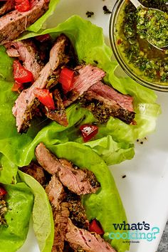 Steak Lettuce Cups with Chimichurri #recipe