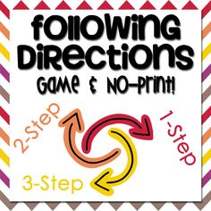 New Product :: Following Directions Game & No-Print Version   One-Stop Counseling Shop