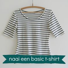 Sew T-Shirt Teken zelf een T-Shirt NaaiPatroon – Sew Natural Workshops Easy Sewing Projects, Sewing Hacks, Sewing Tutorials, Sewing Ideas, Sewing Diy, Sew Your Own Clothes, Sewing Clothes, Sewing Patterns Free, Clothing Patterns