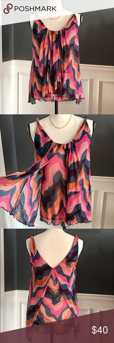 🆕Listing! Diane Von Furstenberg Silk Top Diane Von Furstenberg flowy silk twisted strap tank. Flyaway design. Teal, pink and orange abstract design. Great condition! Diane von Furstenberg Tops Blouses
