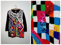 80s POP ART Sweater Mini Dress // Art Deco Abstract by braxae