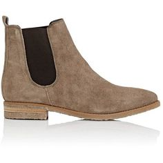 Barneys New York Women's Crepe-Sole Suede Chelsea Boots ($179) ❤ liked on Polyvore featuring shoes, boots, ankle booties, ankle boots, grey, low heel booties, gray ankle boots, short heel boots, gray bootie and grey suede bootie