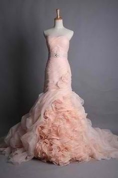 blush pink Vera Wang dress. Completely IN LOVE with this exact dress, and can not find it online not to mention find out where it's sold.  Since I already will have a white dress for the marriage, I would love to wear a pink (statement) one for the wedding.  Want one JUST LIKE THIS! :-)