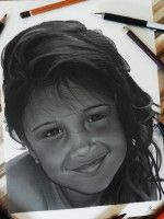 Cartoon Portrait of little girl by the pool