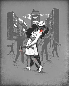 Zombie apocalypse beginning in retro style.    The story of the original photo: http://thelmac.hubpages.com/hub/The-Kiss-WW2