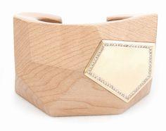 Kara Ross maple facet and diamond cuff