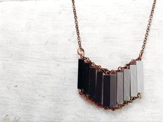 Ombre Necklace // CASABLANCA // Modern Necklace// Ombre Wood Hand-Painted Pendant // Minimal Necklace // Black Modern Necklaces // Chic on Etsy, $32.31