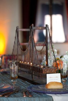 Well Rehearsed – San Francisco Events, Centerpieces, Décor, Golden Gate Bridge Sculpture, Replica, Bronze, Tea Light Candle Holder