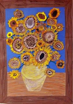 Collaborative class piece for homeroom. each kid does a hand print van gogh flower and cuts it out<br> Class Art Projects, Auction Projects, Collaborative Art Projects For Kids, Group Projects, Auction Ideas, Welding Projects, First Grade Art, Third Grade, Sunflower Art