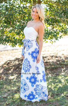 High Above Me Strapless White Maxi - The Pink Lily Boutique