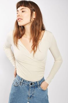 Long Sleeve Wrap Rib Body - Tops - Clothing - Topshop USA