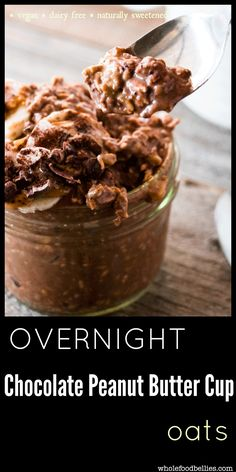 Clean Eating Overnight Chocolate Peanut Butter Cup Oats. Clean eating, kid friendly, meal prep perfect and delicious. Vegan, dairy free and naturally sweetened.