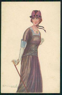 art Bompard Glamour Flapper withg Walking Stick original old 1910s postcard