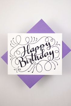Happy Birthday - a white card with a purple envelope . - Happy birthday – a white card with a purple envelope - Lovely Birthday Messages, Happy Birthday Wishes, Happy Birthday Writing, Birthday Greetings, Birthday Card Drawing, Birthday Card Design, Card Birthday, Happy Birthday Typography, Happy Birthday Calligraphy