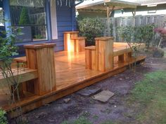 Like the bench vs a railing for a ground level deck