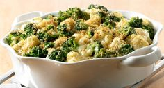 Broccoli Cauliflower Casserole : This creamy casserole can be made a day ahead, refrigerated and then baked just before dinner. Using frozen vegetables makes this dish a cinch.