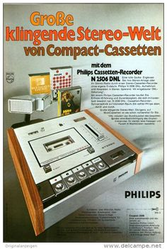 Original-Werbung/Inserat/ Anzeige 1972 - 1/1-SEITE : PHILIPS CASSETTEN-RECORDER N 2506 DNL ca. 220 x 150 mm