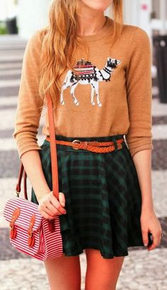 camel sweater and skirt