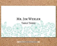 Place Card Template - Floral, Mint -  DIY Editable Word Template, Instant Download, Printable
