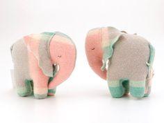 Vintage Baby Elephant Toy Seagreen / Pink by zippitydoodahNZ, $28.00