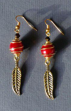 """Boucles d'oreille """"plumes antiques"""" : Boucles d'oreille par maddy-crea"""